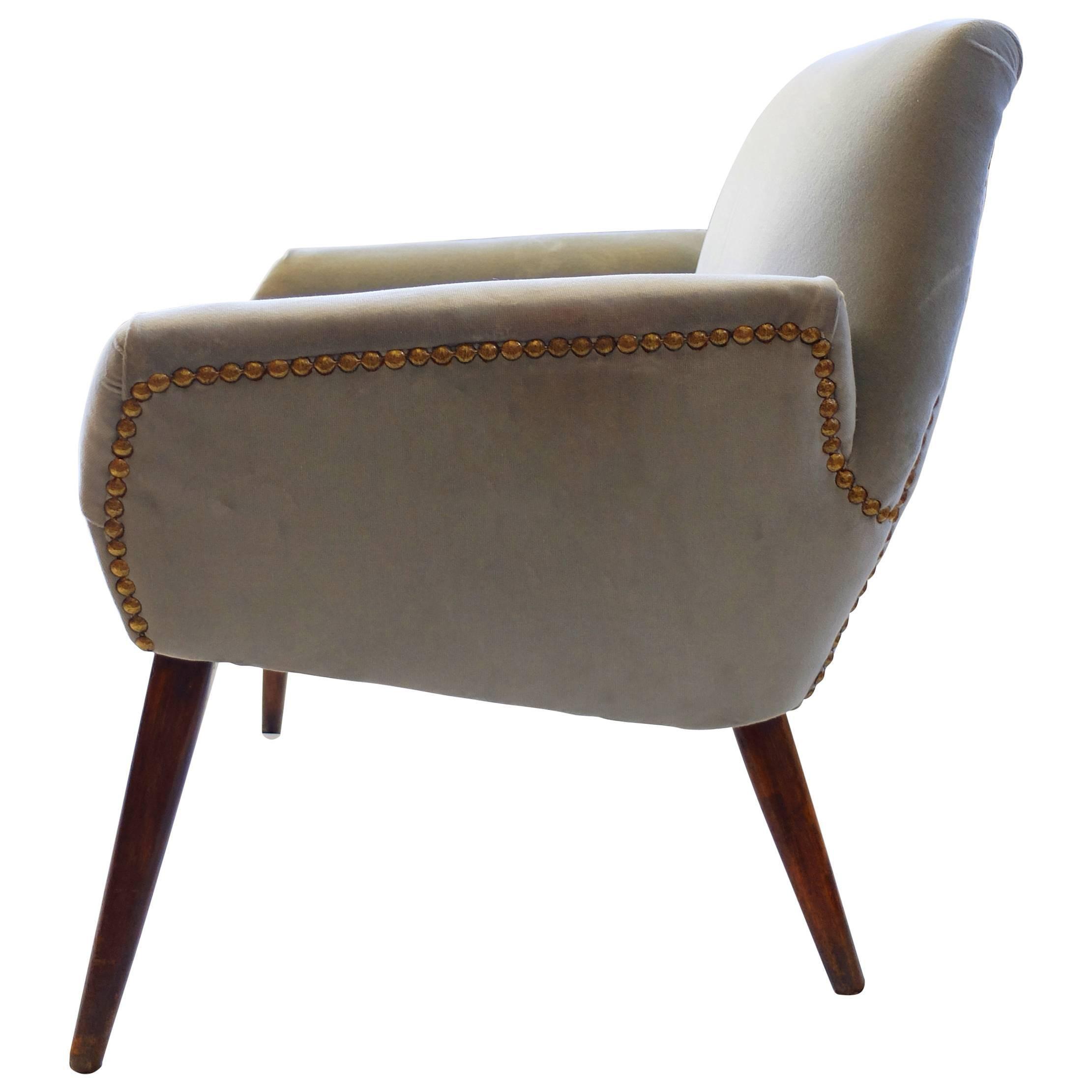 Italian Grey Velvet Armchair, 1950s