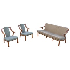 Organic three-seat Sofa with Two Armchairs, Japan 1965