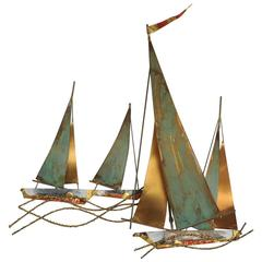 Signed Curtis Jere` Brutalist Period Sailboat Wall Sculpture, 1969
