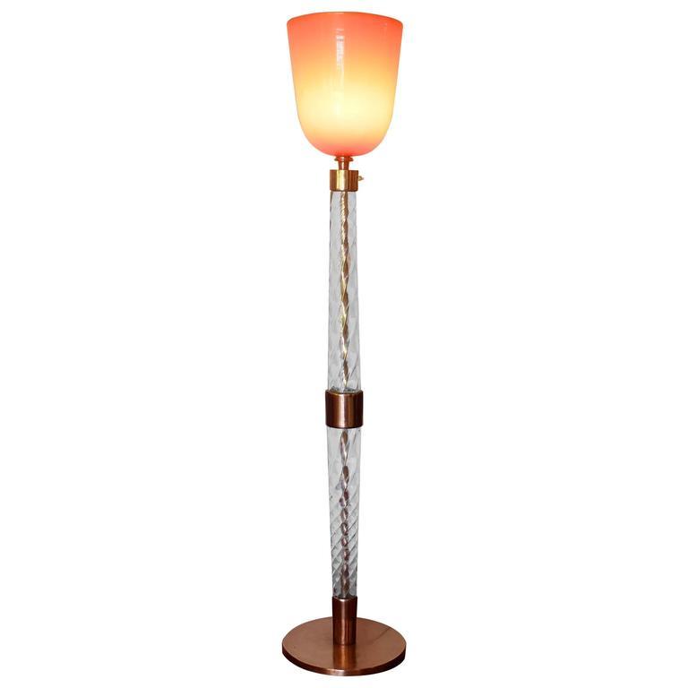 """Tomaso Buzzi for Venini, Mid-Century Floor Lamp Signed """"Venini Murano"""" 1930s For Sale"""
