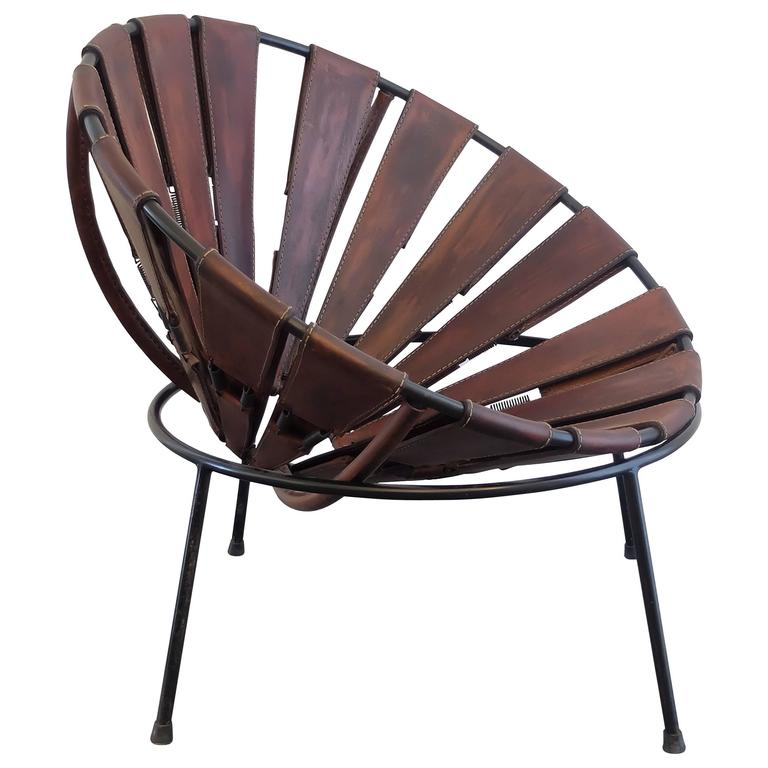 Bowl Chair in Leather by Lina Bo Bardi from the 1950s