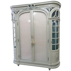 Monumental French Style Painted Two-Door Cabinet
