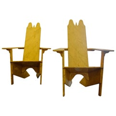 Pair of Gino Levi Montalcini Italian Modernist Wooden Lounge Chairs from 1927