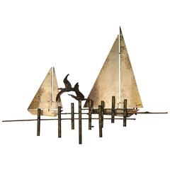 Signed and Dated Curtis Jere Brutalist Sailboat Sculpture, 1979