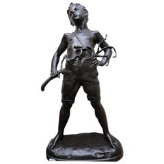 "Regule Bronze Patin by Vital-Cornu ""Whistling, Young Boy"""