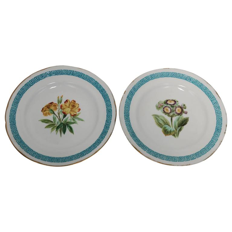 Set of 2 Anitque English Minton Plates with Greek Key Design