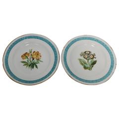 Antique Set of Two English Minton Plates with Greek Key Design