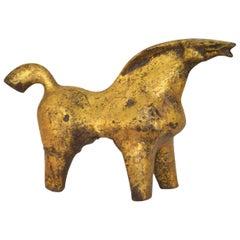 Midcentury Sculptural Gilt Metal Horse