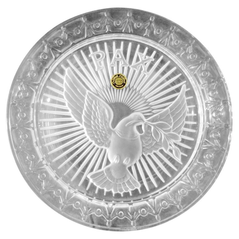 Decorative Mid-Century Crystal Plate by Gilbert Poillerat, Peace Plate