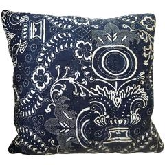 Early 19th Century French Toile De Nimes Indigo Resist Block Printed Pillow