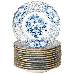 Set of 12 Meissen Rare Blue Onion Pattern Reticulated Plates