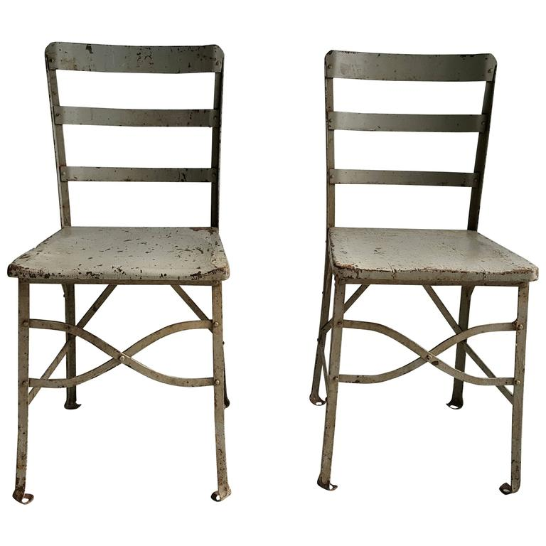 Pair of American Modernist Industrial Chairs, Old Factory Grey Paint, Toledo