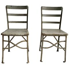 Charming Pair Of American Modernist Industrial Chairs, Old Factory Grey Paint, Toledo