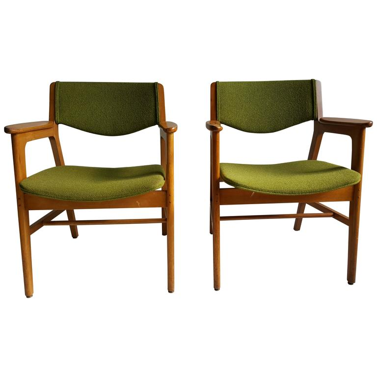 Classic Mid Century Modern Armchairs, Manufactured By W.H. Gunlocke Chair  Co. 1