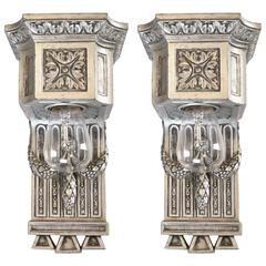 Stunning Early 20th Century Beaux Arts Silver Plated Sconce Pair
