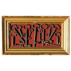 Collection of Mounted 18th Century Keys
