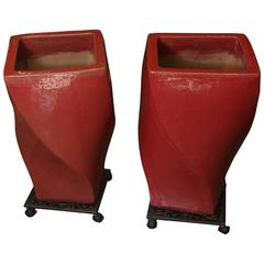 Red Cement Pair of Jardinieres on Wrought Iron Stands