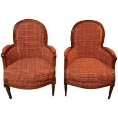 18th Century Louis XVI Pair of Bergere Armchairs