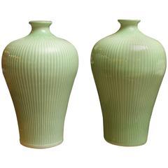 Large Ribbed Celadon Glazed Vases