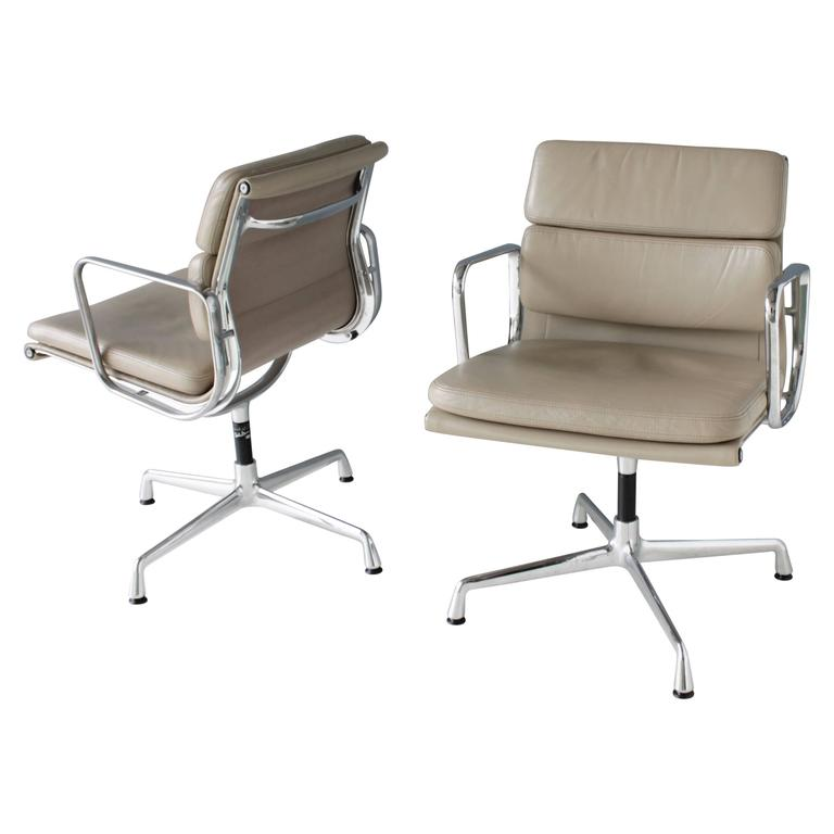 Pair of Eames EA 208 Swivel Soft Pad Chairs