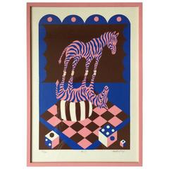 1960s Limited Edition Signed Screen Print of a Zebra by Benno Walldorf