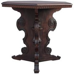 1920s Hexagonal Walnut Table with Pedestal Base