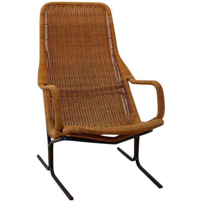Dirk van Sliedrecht 514 Wicker Lounge Chair for Rohé Noordwolde