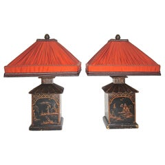 Pair of English Chinioserie Pagoda Shaped Wood Lamps