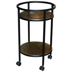 Two-Tiered Metal Framed Rolling Bar Cart