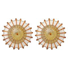 Pair of Amber Tone Sunburst Glass Sconces or Flush Mount Light Fixtures, 1960s