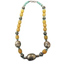 Tribal Necklace Turquoise Beads and Large Metal and Yellow Beads