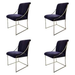 "Set of Four ""Thin Line"" Brass and Mohair Dining Chair by Milo Baughman"