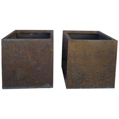 Pair of Brutalist Design Bronze Planters by Forms and Surfaces, 1970s