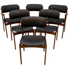 Set of Six Danish Teak Dining Chairs by Erik Buck