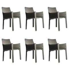 Mario Bellini Leather Cab Armchairs by Cassina Italy, Designer Color Warm Grey
