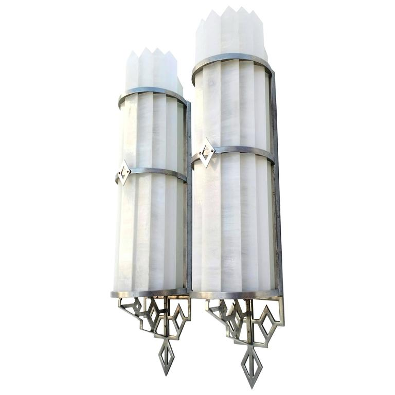 architectural glass and aluminum art deco theater wall lamp sconces