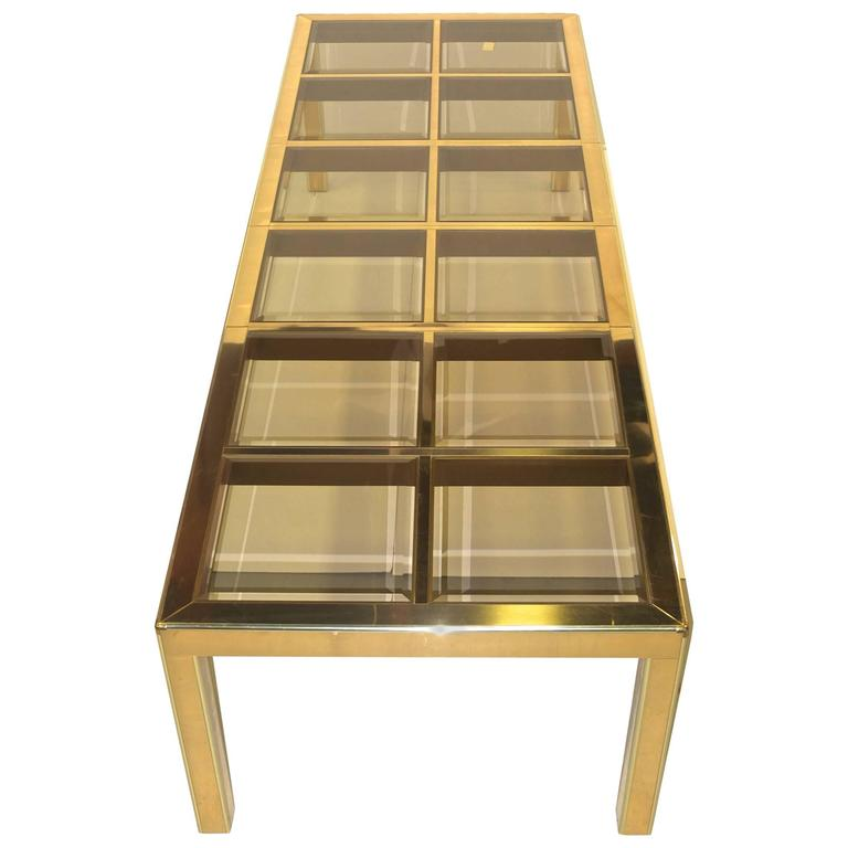Mastercraft Brass and Smoked Beveled Glass Extendable Dining Table