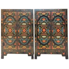 Art Nouveau Asian Wedding Cabinets with Detailed Polychrome Design