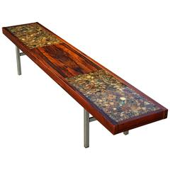 Scandinavian Table Bench in Rocks, Resin and Rosewood