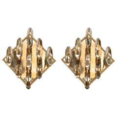 Pair of Crystal and Gold-Plated Brass Sconces by Stilkronen