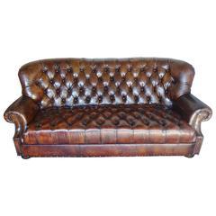 English Leather Tufted Sofa, circa 1930s