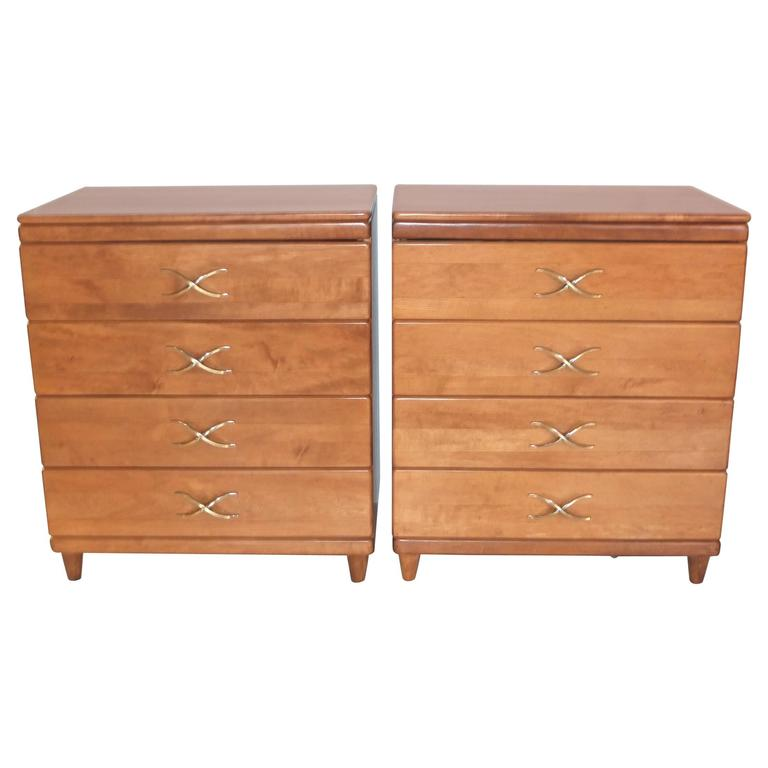 Pair of Paul Frankl Four-Drawer Chests for Brown Saltman 1