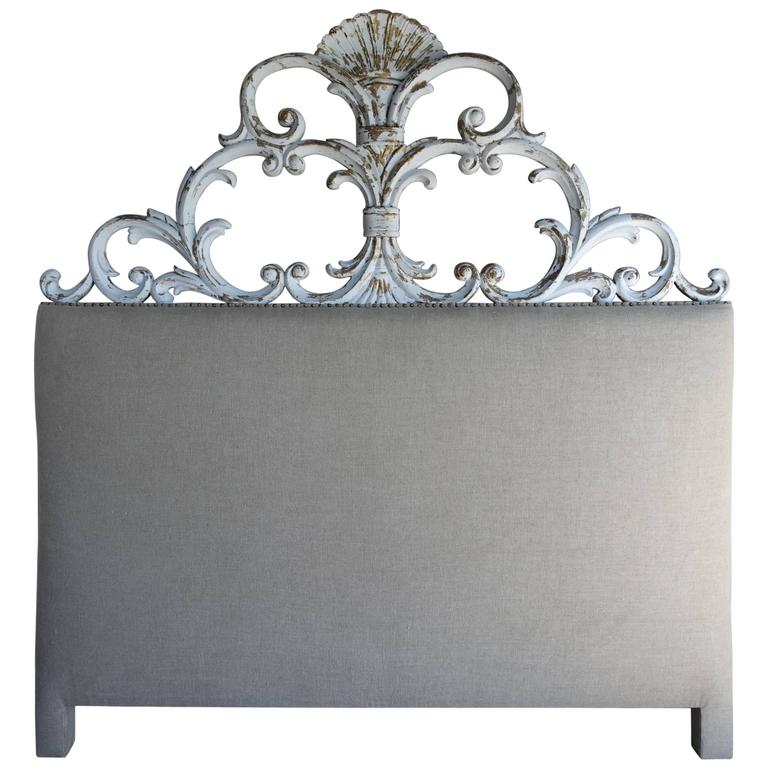 Italian Carved Painted Headboard with Scrolls 1