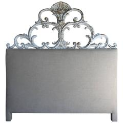 Italian Carved Painted Headboard with Scrolls