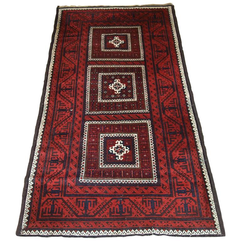 Antique Baluch Rug With Unusual Three Compartment Design