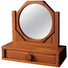 Vintage Handcrafted Teak Jewelry Box and Mirror