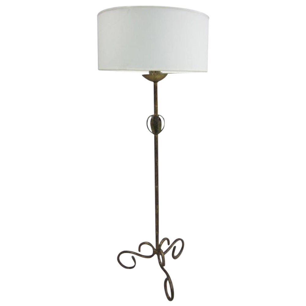 French Mid-Century Modern Gilt Iron Faux Bamboo Floor Lamp by Maison Baguès