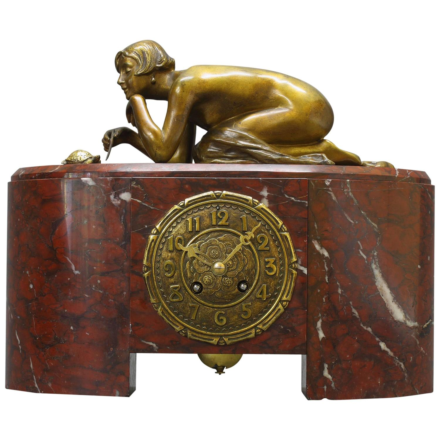 "French Art Deco Mantel Clock ""Patience"" For Sale At 1stdibs"