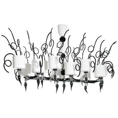 Italian Venetian Chandelier in Murano Glass Black and White, circa 1990s
