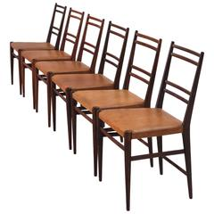 Set of Six Danish Dining Chairs in Cognac Leather